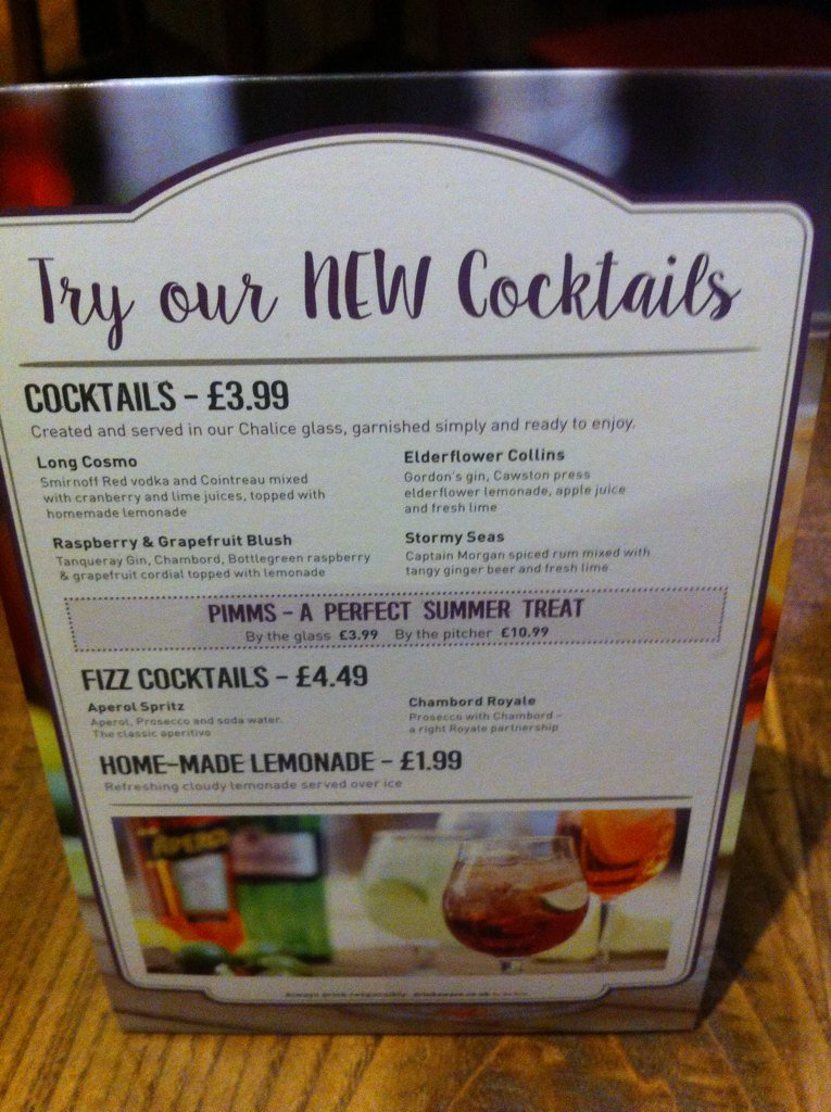 Cocktail menu arrives! @ The Fairfield Arms | Audenshaw | England | United Kingdom