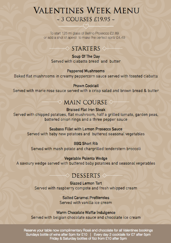 Valentines Week Menu @ The Fairfield Arms | Audenshaw | England | United Kingdom